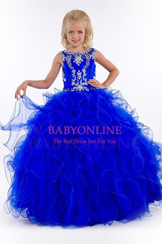 2015 New Royal Blue/Pink Lovely Little Girls Pageant Dresses Beading Sleeveless Ball Gown Flower Girl Dresses vestido florista