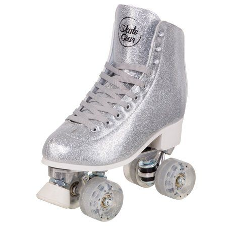 Cal 7 Sparkly Roller Skates For Indoor Outdoor Skating Faux Leather Quad Skate With Ankle Support 83a Pu Wheels For Kids Adults Silver Youth 3 Walma In 2021