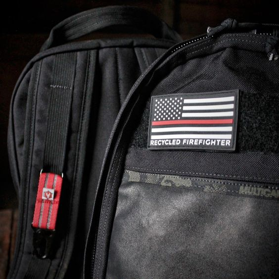 Who has one of these thin red line flag patches?