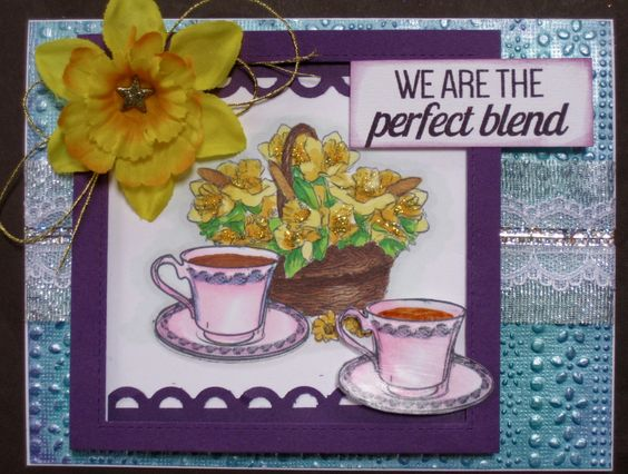 "This card has been made for the http://coffeelovingcardmakers.com/2016/03/spring-coffee-lovers-blog-hop-2; Stamplorations 'never ending challenge; SSS Work it Wednesday ' add a flower'; http://inspirationdestinationchallengeblog.blogspot.com/2016/03/AG-NO-77.html; Die-cut-divas 'something Spring and Kraftin' Kimmie Challenge Day 'AG"".:"