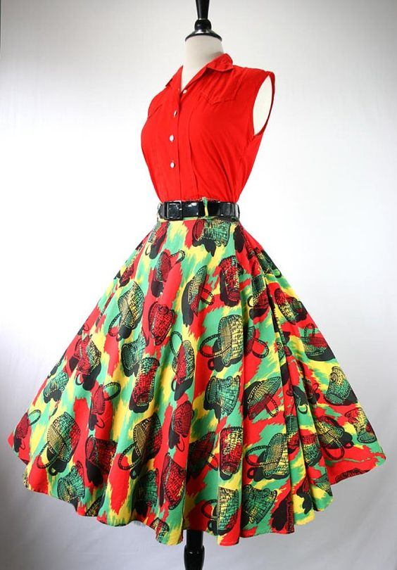 I like these colors.Vintage 50s Dress Set Blouse Full Skirt ...