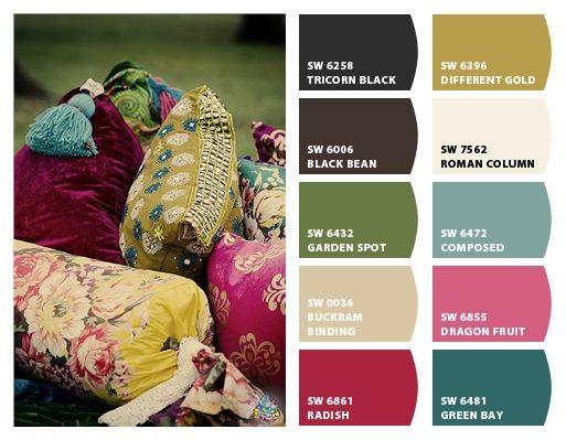 Bohemian colors pallete different gold, garden spot, buckram binding, Green Bay for our bedroom.