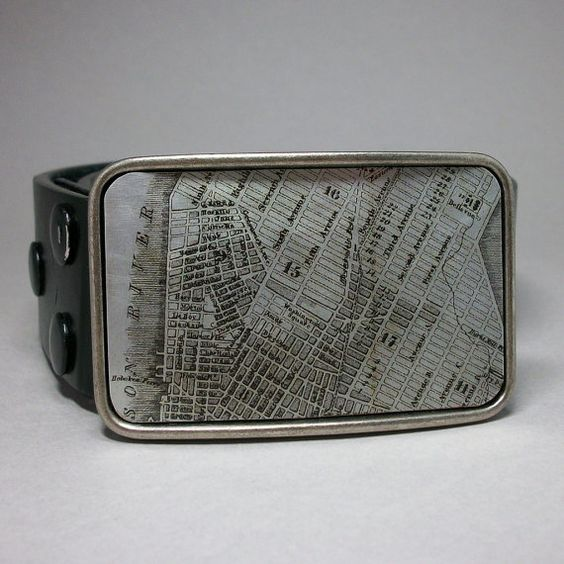 vintage map belt buckle.
