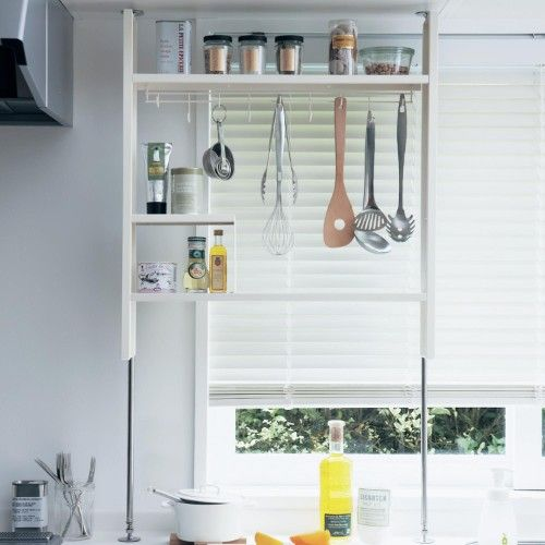 壁面キッチン用つっぱりラック キッチン つっぱり 収納 アイディア