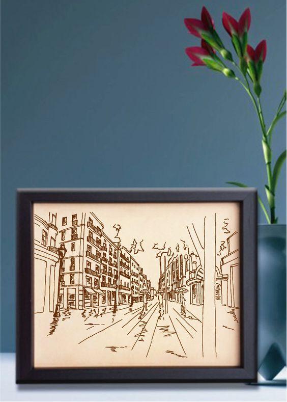 Lik204 Leather Engraved barcelona spain street Honeymoon third anniversary personalized gift