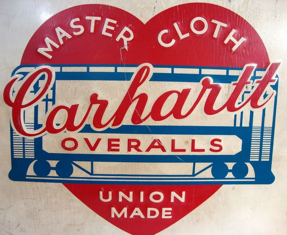 Carhartt Clothing's older master cloth union made label/ Sharyl says colors are nice a tiny bit too 1950's ish for a complete design concept