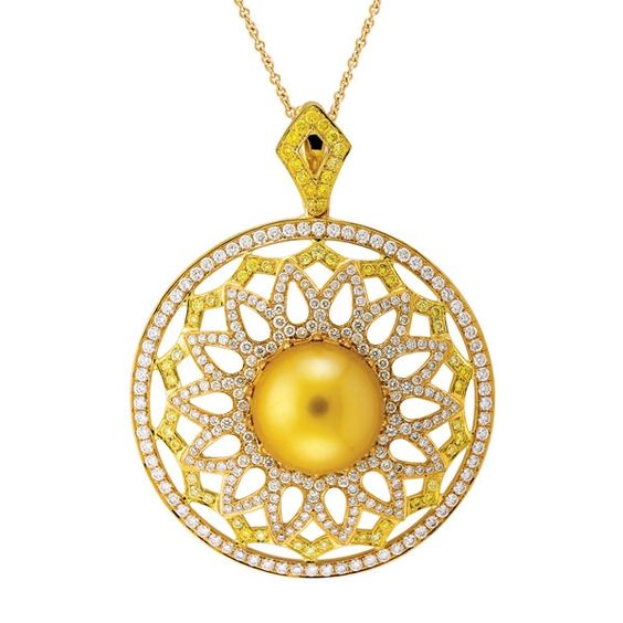Yael Nectarine Golden Pearl pendant