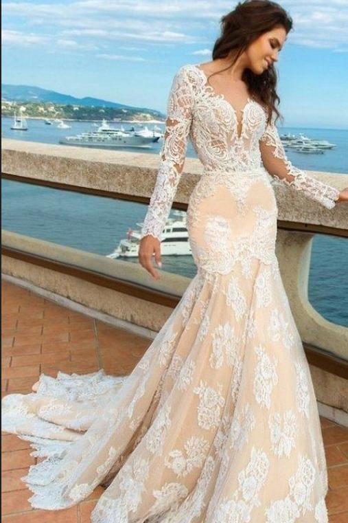 2018 White Lace Mermaid Deep V Neck Backless Long Sleeve Wedding Dresses Uk Pm835 Wedding Dresses Wedding Dress Long Sleeve Wedding Dress Sleeves