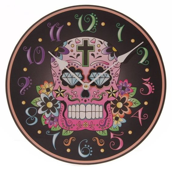 Wall CLOCK Skull Design Art decor Black Multi colour Home Interior 29cm round £16.99 + FREE Post uk
