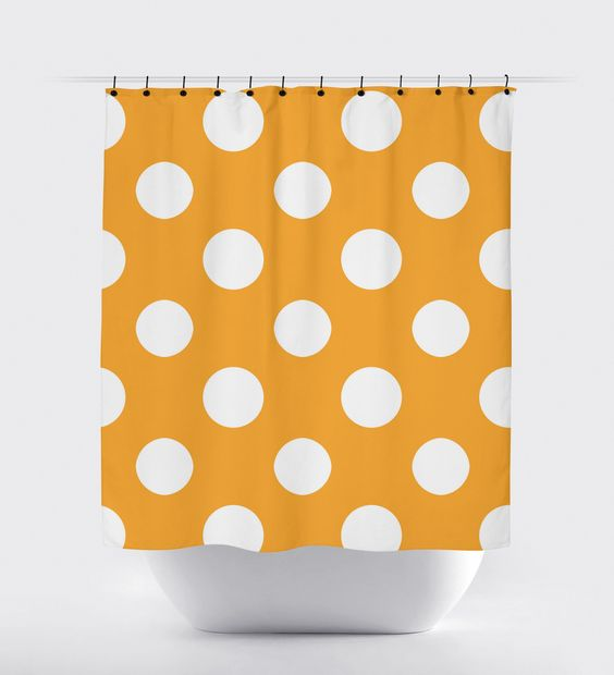 Orange Polka Dot Shower Curtain | Shower curtains, Products and ...