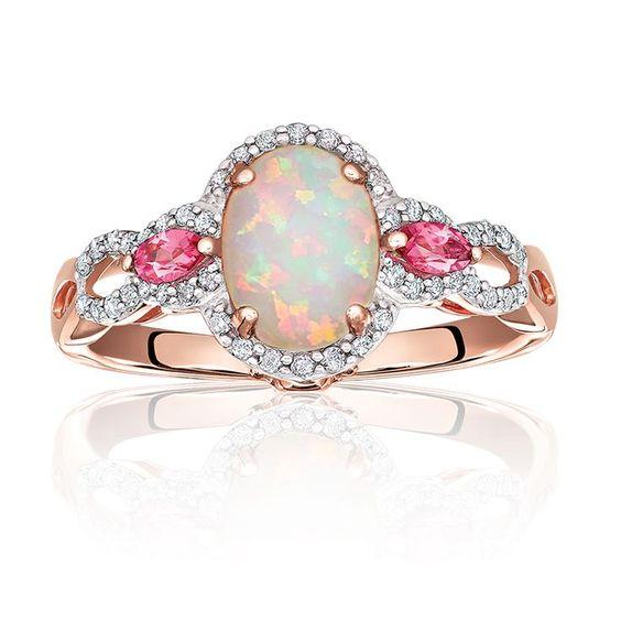 JK Crown: Опал и турмален пръстен в Rose Gold