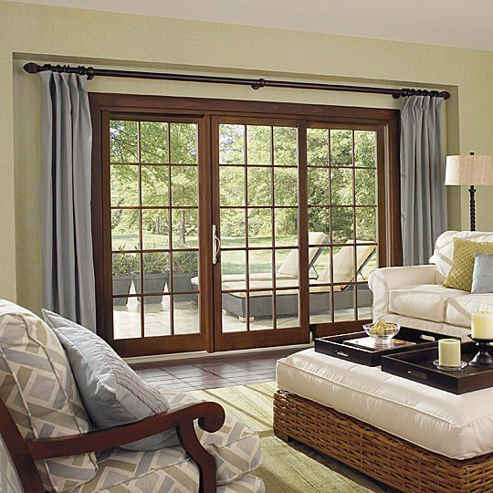 Sliding Wood Frame French Patio Doors With Curtain Example Of How I Want To Hang The Curtains Over The Patio Door Doors Slaapkamerideeen Modern