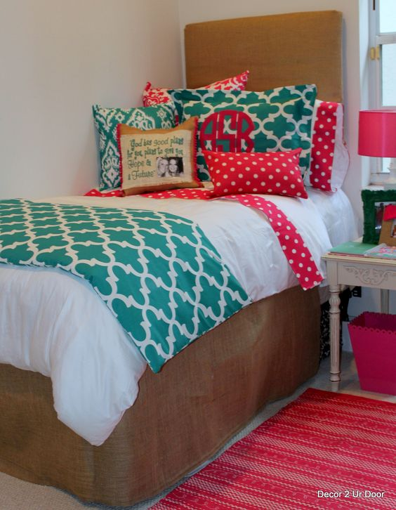 Dorm bedding- make your own headboard and bed skirt with the same fabric to pull it all together!: