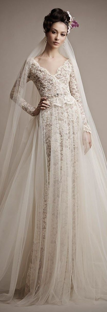 Ersa Atelier 2015 Bridal Collection / lace tulle gown #weddingdress: