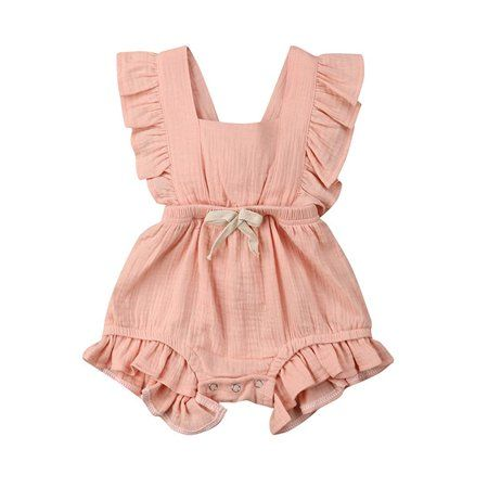 Newborn Girls Ruffle Solid Color Romper Backcross Jumpsuit Outfits Walmart Com Baby Girl Ruffle Romper Girls Rompers Stylish Rompers