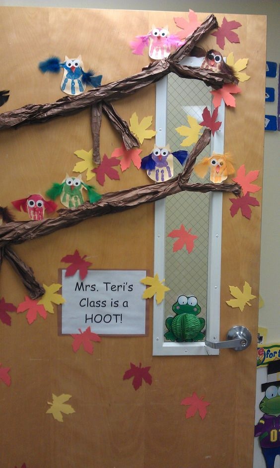 Owl Classroom Door Decorations ~ Owl classroom decorations handprint door display by