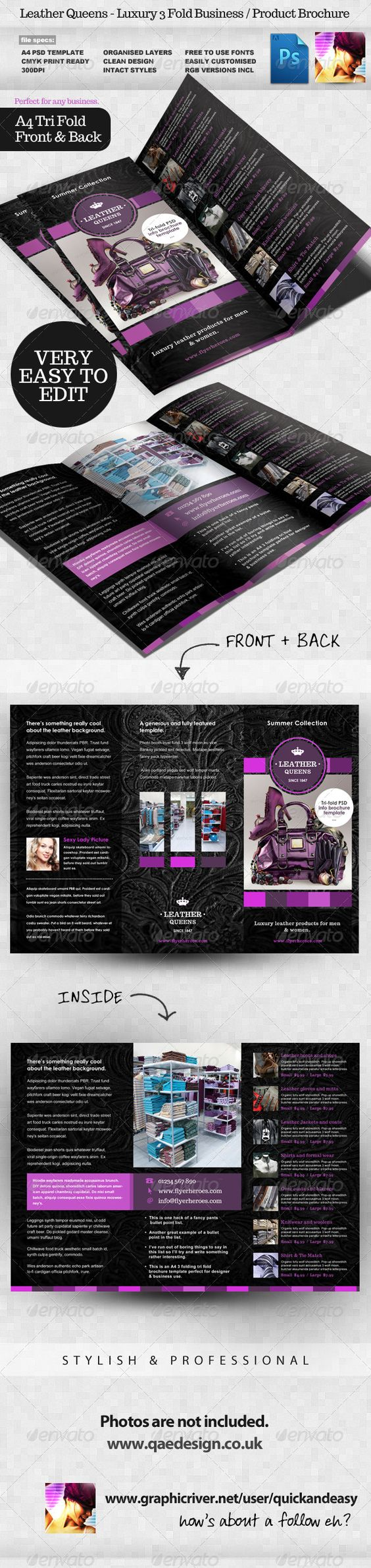 flyer template psd flyer templates and leather leather queens 3 fold product brochure template graphicriver leather queens business product 3