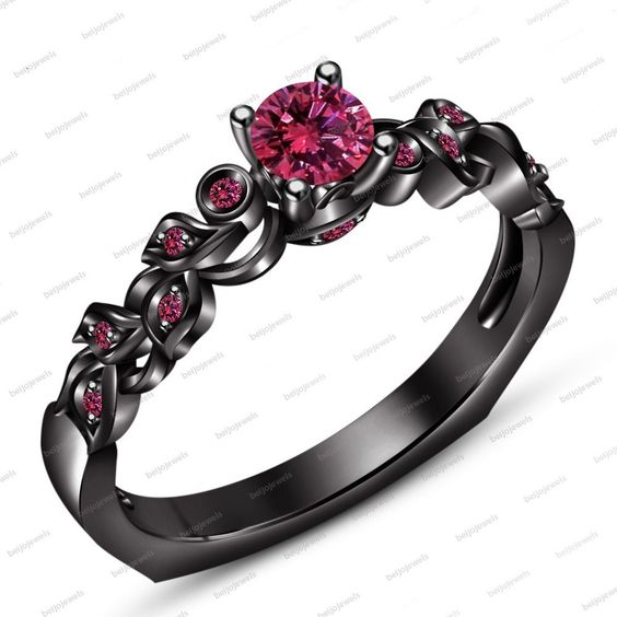 14Kt Black Gold Fn Over 925 Silver Wedding & Engagement Ring With Pink…