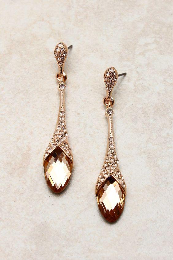 Rose champagne teardrop earrings