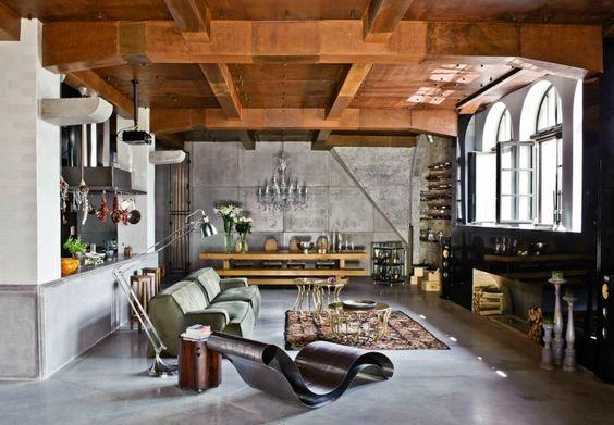 Wohnungseinrichtung Ideen - Möbel Mix und Decke in Rost Optik ...