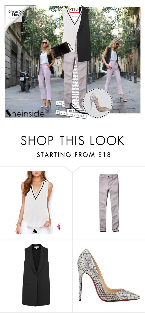 """""""V neck vest SHEINSIDE"""" by dinna-mehic ❤ liked on Polyvore featuring Abercrombie & Fitch, Elizabeth and James, Christian Louboutin, Valentino and Sheinside"""