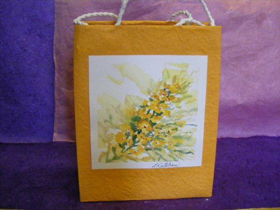Handmade Paper Gift Bag  Golden Yellow Flower by TheGiftoftheGAB, $5.00