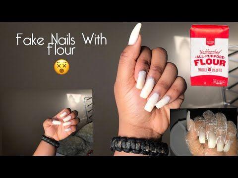 Diy Fake Nails Using Flour Cornstarch Alternative Youtube Fake Nails Diy Diy Acrylic Nails Fake Nails