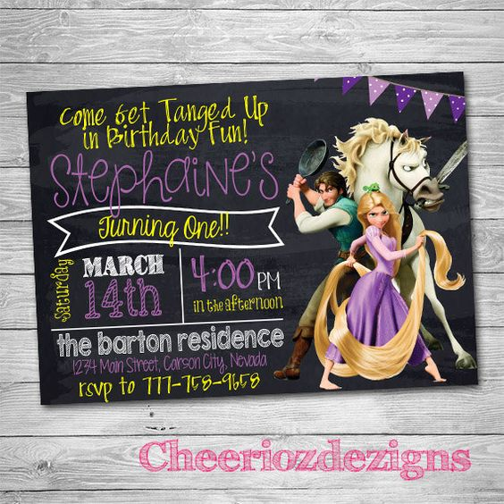 Tangled Birthday Invitation Chalkboard Style