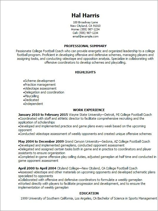 College Football Coach Resume Template Best Design Tips College Football Coaches Football Coach School Coach