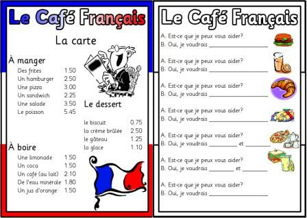 French menu printable- Students learning how to order food in - french menu