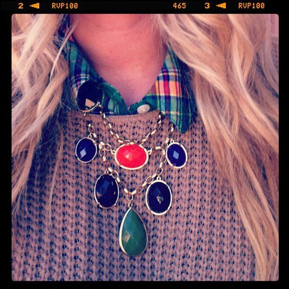 Plaid casual with Gold'n Gems Necklace