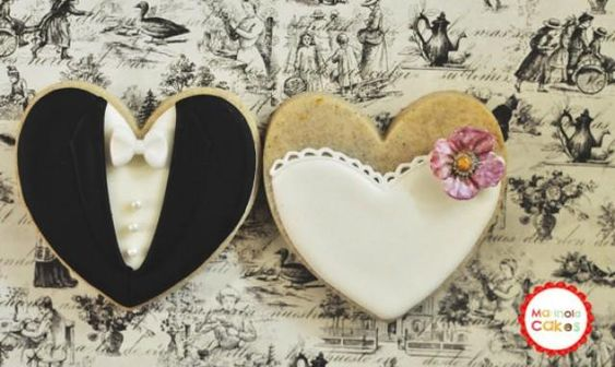 Blossom Bride and Groom Wedding Favor Cookies- 1 Dozen (6 Pair Set)- Cookie Favors, Wedding Cookies,  Bridal Shower Cookies - New