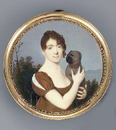 JEAN-BAPTISTE-JOSEPH LE TELLIER (1759 - AFTER 1812) A young lady in a landscape holding her pug, facing right in dark orange-brown silk dress, the right sleeve slashed to reveal white, her dark brown hair plaited and dressed in a knot: