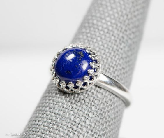 Good Gemstones Round cabochon Lapis Lazuli Rings 925 Sterling Silver Blue Lapis Lazuli Good Gemstones Ring Faishon Jewelry Nice Item Gift for Friendship Day Great Ring