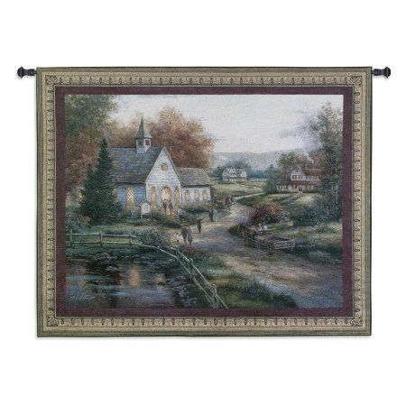 FineArtTapestries 2712-WH Sunday Services Wall Tapestry, Brown