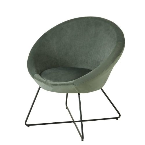 Fauteuil En Velours Vert Pieds En Metal Noir In 2020 Furniture Interior Chair