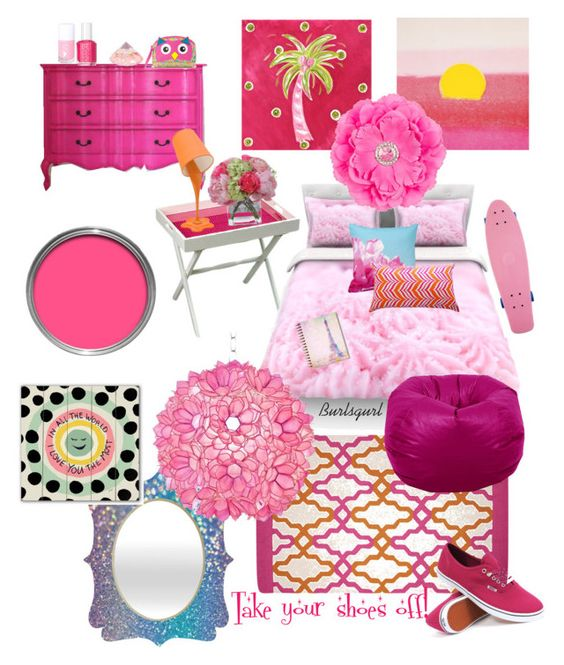 """""""More pink! Take your shoes off!"""" by burlsgurl ❤ liked on Polyvore featuring interior, interiors, interior design, home, home decor, interior decorating, Dot & Bo, Gate House Furniture, Diane James and Essie"""