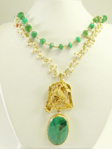 Unique Special Malachite and Pearl Necklace by beadycats on Etsy, $79.90