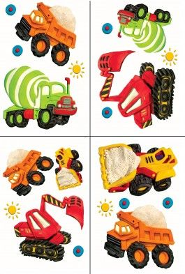 BYR8342 Clay Construction Appliques from Boys Rock are Easy Accent Peel and Stick Appliques of construction equipment.