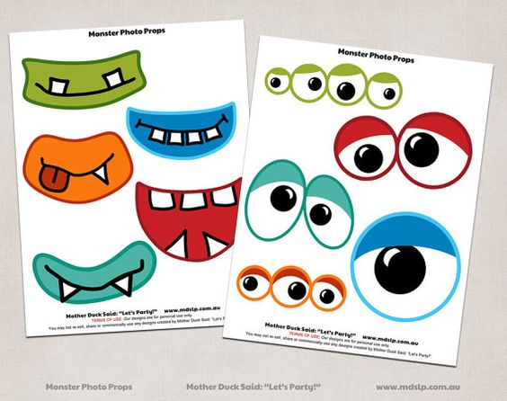 Monster Eyes Printable monster eyes and mouths printable photo props ...