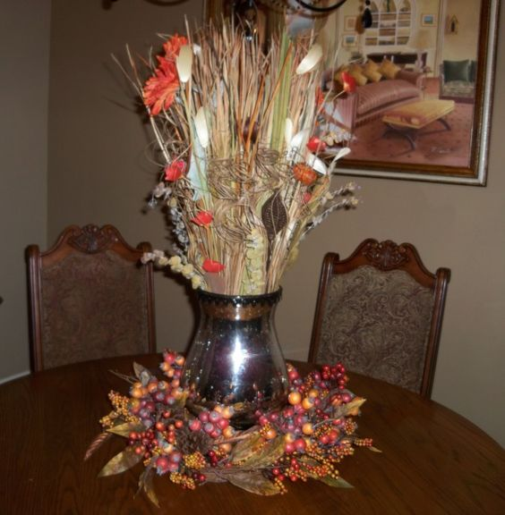Fall formal dining table centerpiece home decor for Formal dining room centerpiece ideas