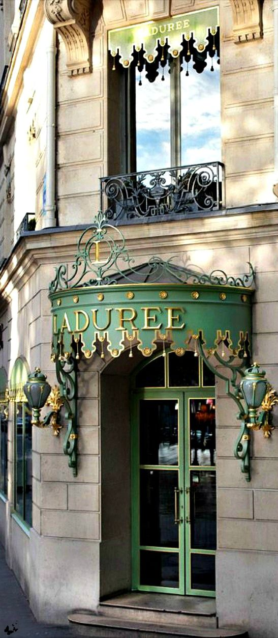 Laduree - Paris. One of the most fabulous tea rooms in the world with great tea and the most amazing array of beautiful desserts.: