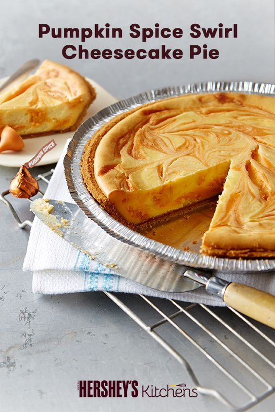 Pumpkin Spice Swirl Cheesecake Pie recipe. Made with HERSHEY'S KISSES ...