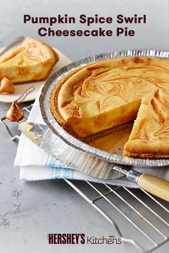Pumpkin Spice Swirl Cheesecake Pie recipe. Made with HERSHEY'S KISSES ...