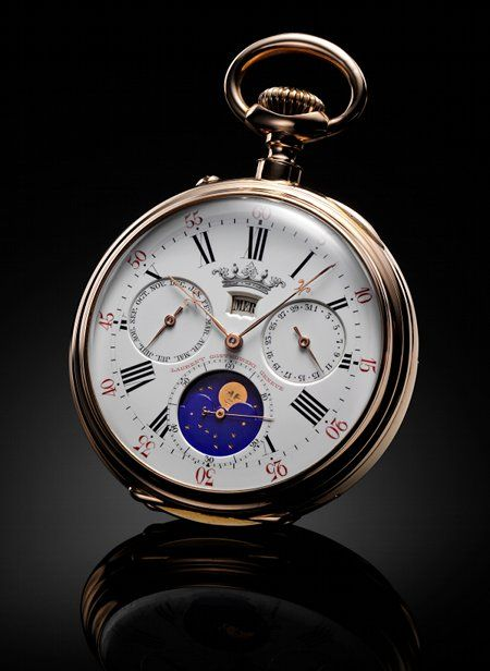 1870 circa. LeCoultre Hunter pocket watch with complete calendar