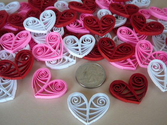 12ct Paper Quilled Valentine's Day Hearts Red, White and Pink Table Decorations Card and Scrapbooking Embellishments
