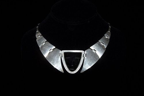 Fred Davis Obsidian Mask Vintage Mexican Silver Necklace Necklace Vintage Mexican Mexican Silver Jewelry