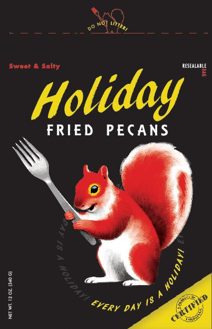 Holiday Fried Pecans latest package design. It was inspired by Golden Books and old paper back novels. www.holidayfriedpecans.com