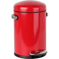 Amazon.com: simplehuman Round Retro Step Trash Can, Red Steel, 4-1/2-Liter / 1.2-Gallon: Home & Kitchen
