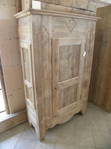 Armadio Dispensa artigianale in legno abete vecchio decorato a mano Bellissimo in Arte e antiquariato, Arredamento d'antiquariato, Armadi   eBay